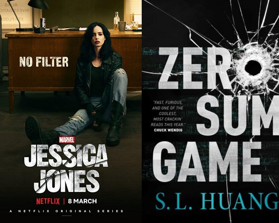 Jessica Jones poster and Zero Sum Game cover