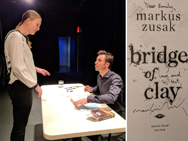 Collage of me meeting Markus Zusak at the New York launch of Bridge of Clay and the page he signed in my copy of the book.