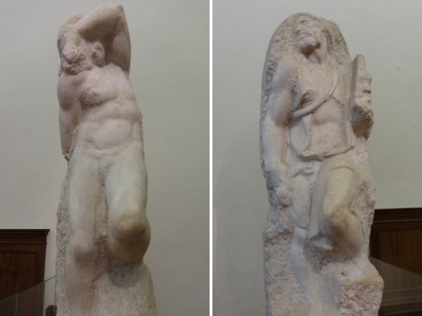 """Michelangelo's """"slaves"""" sculptures at the Galleria dell'Accademia struggling to get out of the stone"""