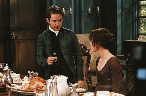 Tom Hollander and Keira Knightley as Collins and Elizabeth Bennet in Pride and Prejudice