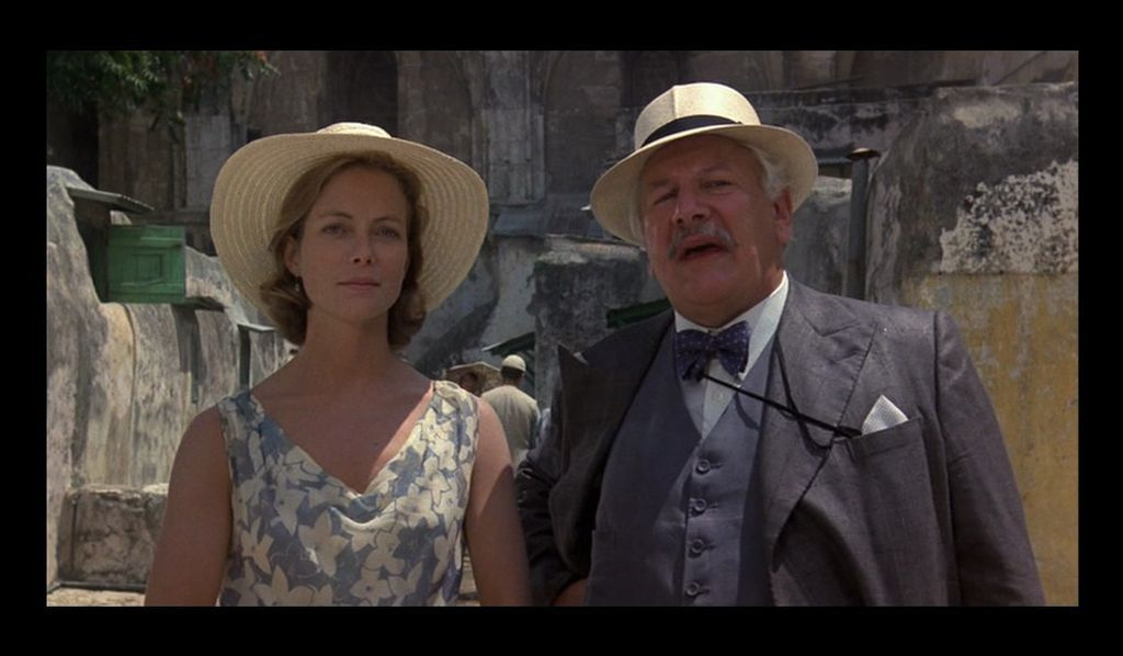 Jenny Seagrove and Peter Ustinov in Appointment with Death (1988), from IMDB
