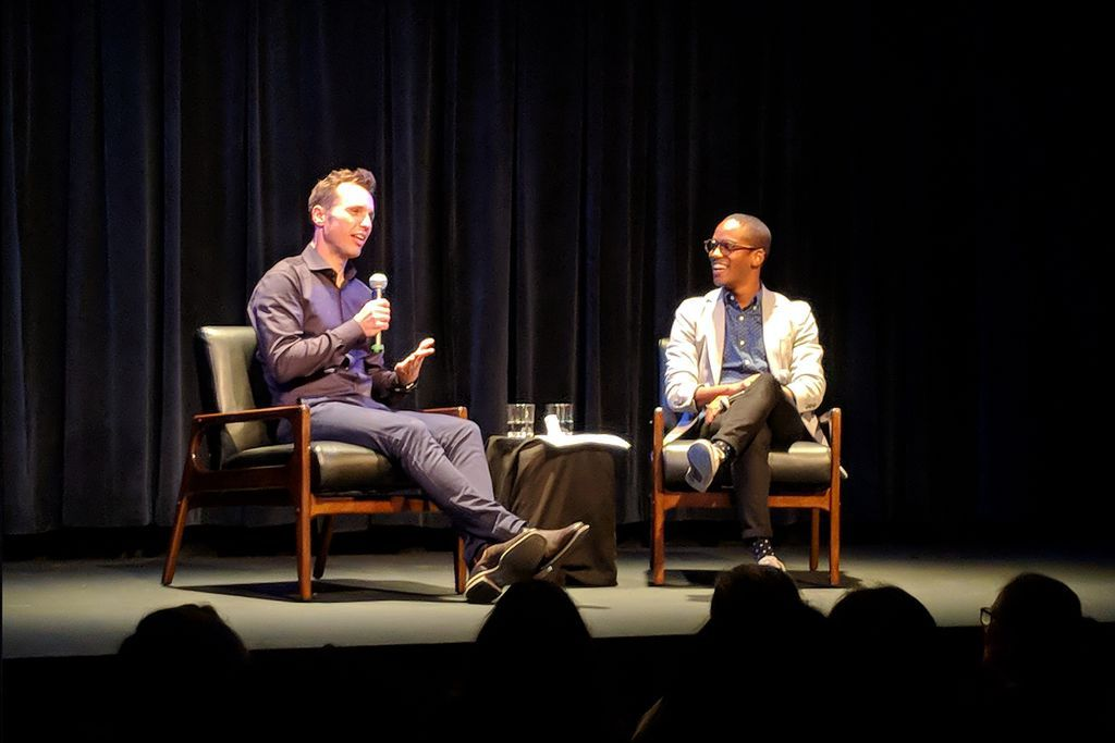 Markus Zusak discusses Bridge of Clay at New York launch onstage with MJ Franklin