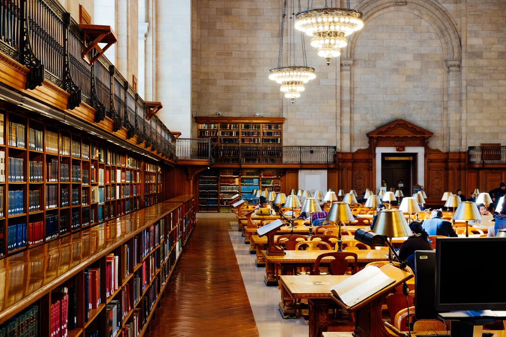 Photo of tables and books at a New York public library