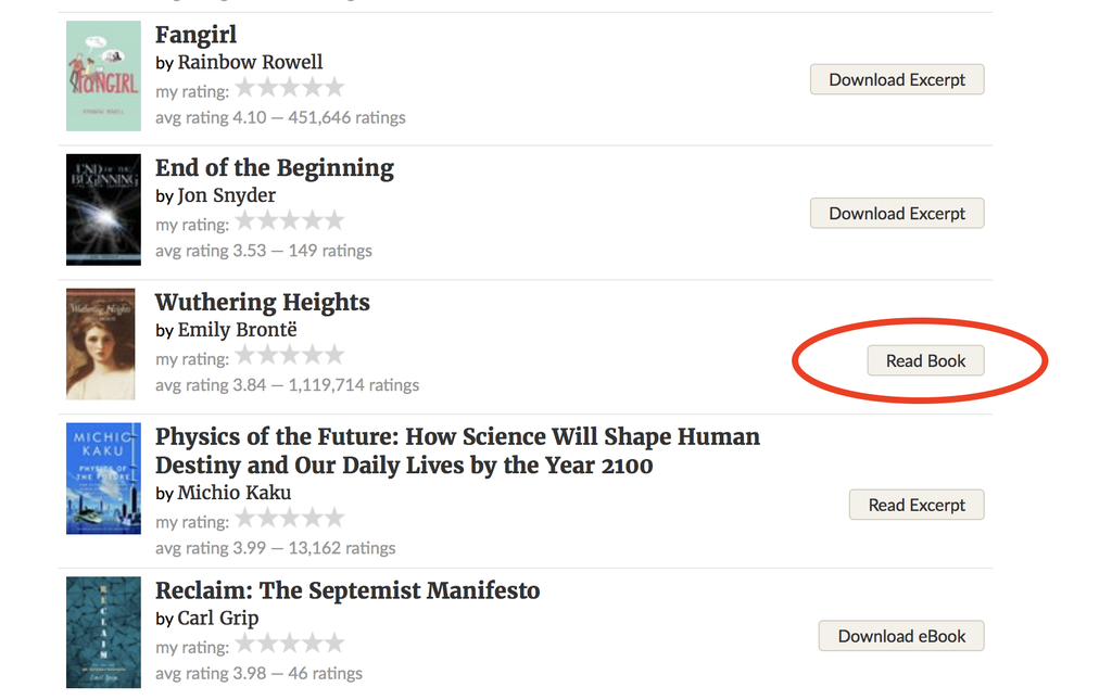 Wuthering Heights on the readable ebooks list on Goodreads
