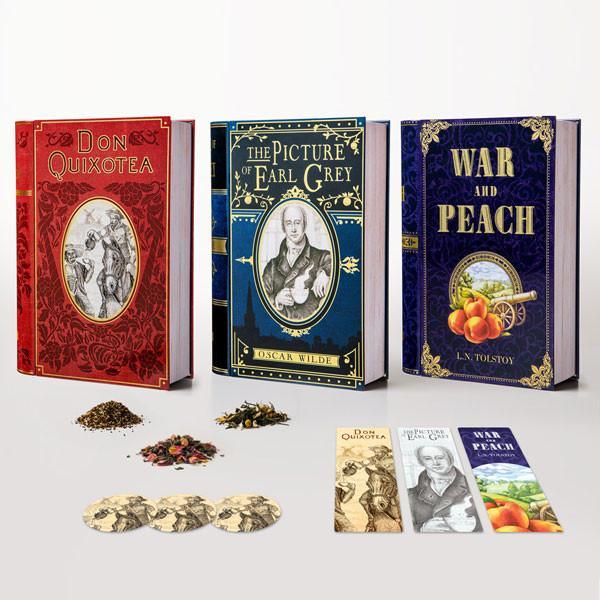 book-shaped tea tins