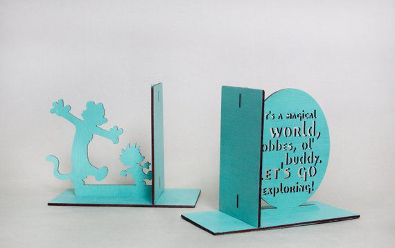 calvin and hobbes light blue wooden bookends