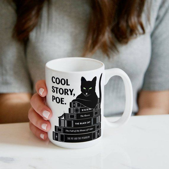 Cool story, Poe mug with black cat and books