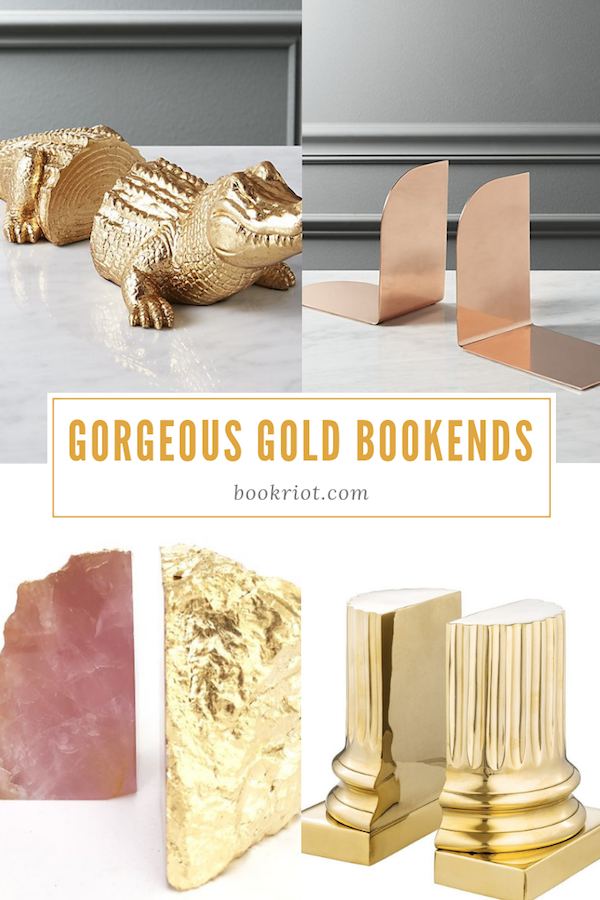 Add class, sass, and elegance to your shelves with these gorgeous gold bookends. bookends   gold bookends   decorative bookends   book ends