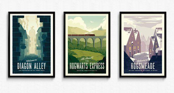 3 Harry Potter Retro Travel Posters