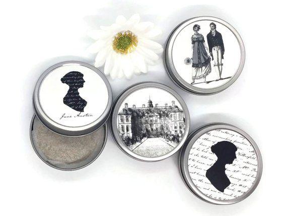 four Jane Austen-themed tea tins