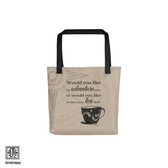 tote bag with a tea cup image and quote from peter pan