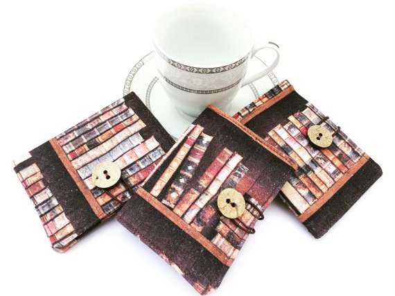 tea wallets made with bookshelf-print fabric