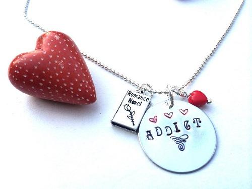 romance novel addict necklace bookish jewelry romance reader gifts