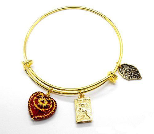 romance novel bangle bracelet bookish jewelry romance reader gifts