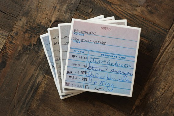 coasters with vintage library card designs