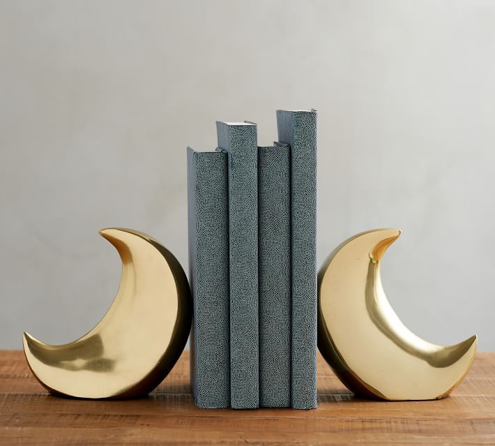 Sturdy Brass Moon Bookends