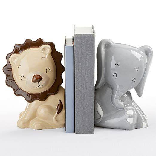 Ceramic lion and elephant children's nursery bookends