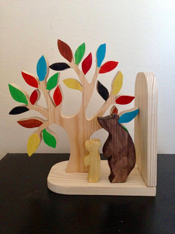 Tree with Colorful leaves and bears wooden kids bookends