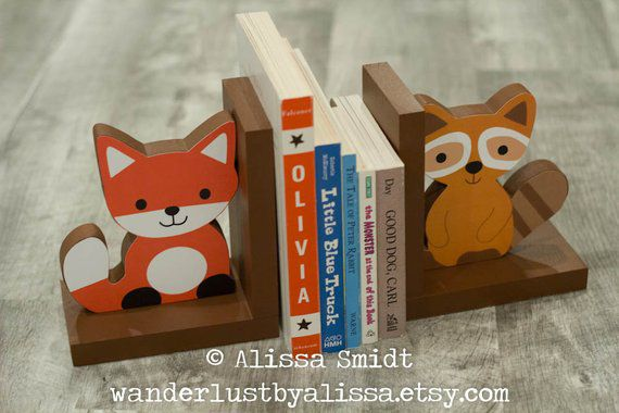 Fox and Raccoon Wood Bookends