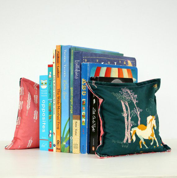 Plush Pillow with Unicorn Fabric Bookend