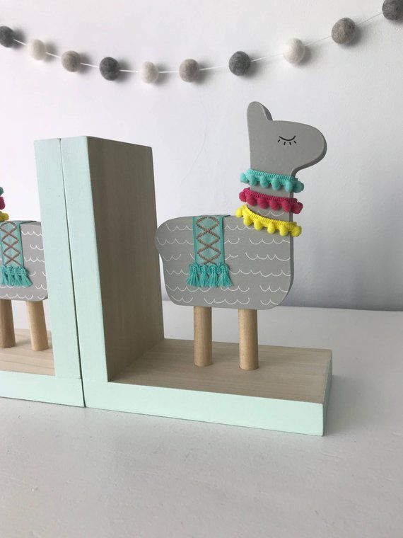 Wood Llama Kids Bookends