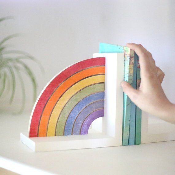 Shimmery Rainbow Kids Bookend