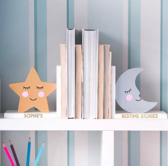 Star and moon personalized baby bookends