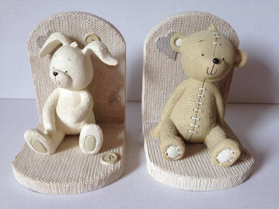 Vintage Teddy Bear and Bunny Kids Nursery Bookends