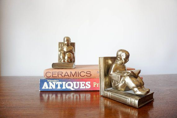 Vintage Brass Bookends Kids Reading