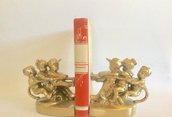 Vintage Brass Bookends Kids Playing Tug of War