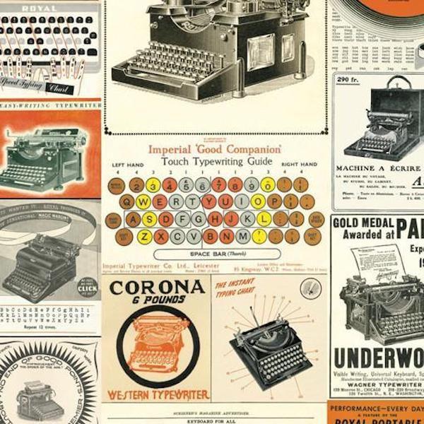 Vintage typewriter wrapping paper