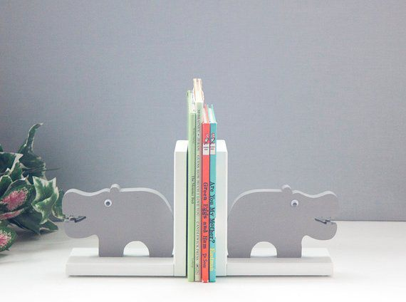 Wood hippo bookends