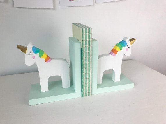 Wood Rainbow Unicorn Kids Bookends