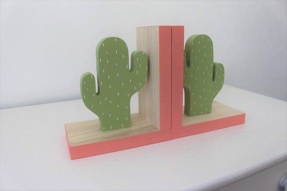 Wooden Cactus Sturdy Kids Bookends
