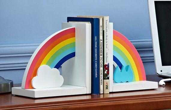 Wooden Rainbow with clouds and raindrops bookends
