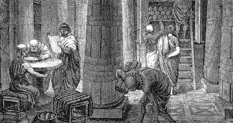 Artistic Rendering of the Library of Alexandria, based on some archaeological evidence, public domain