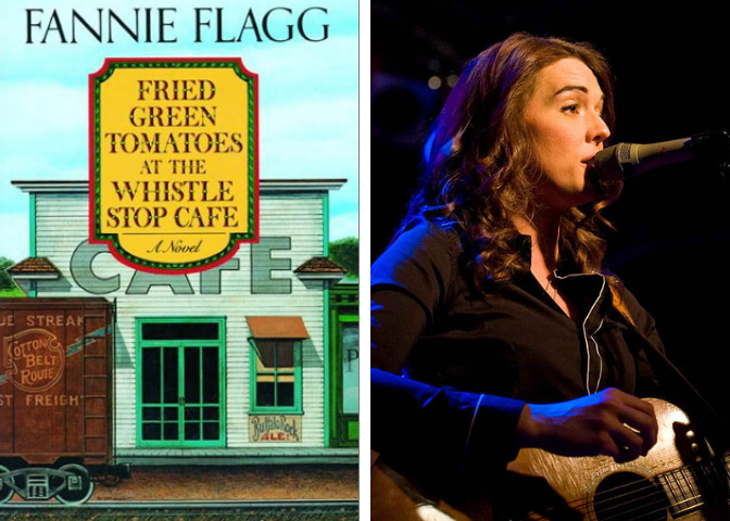 Fried Green Tomatoes book cover and Brandi Carlile photo