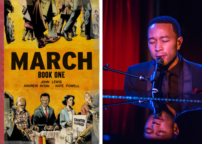 March: Book One cover and John Legend photo