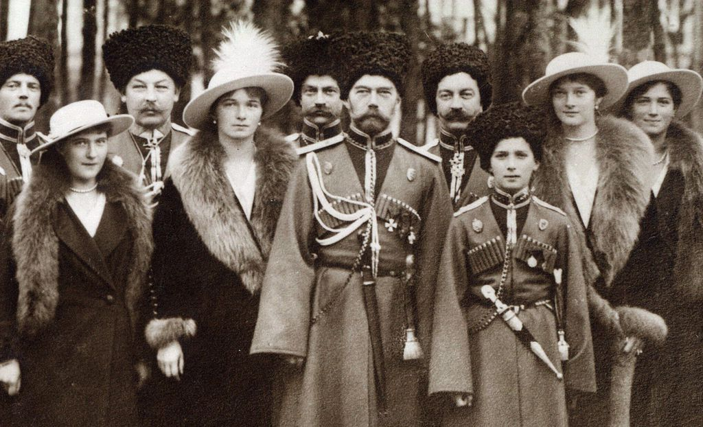 The Romanovs visiting a regiment during World War I. From left to right, Grand Duchess Anastasia, Grand Duchess Olga, Tsar Nicholas II, Tsarevich Alexei, Grand Duchess Tatiana, and Grand Duchess Maria, and Kuban Cossacks