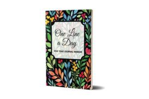 One line a day journal with a bright, floral cover