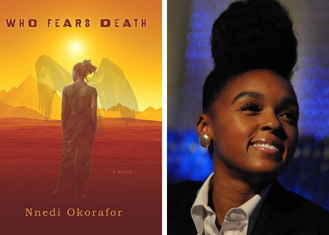 Who Fears Death cover and Janelle Monae photo