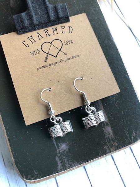Stainless Steel Open Book Earrings