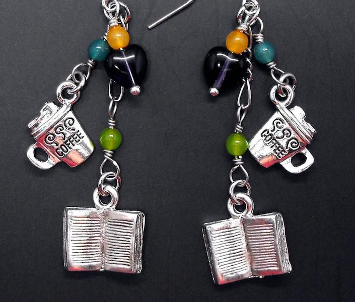 Book and Coffee Earrings