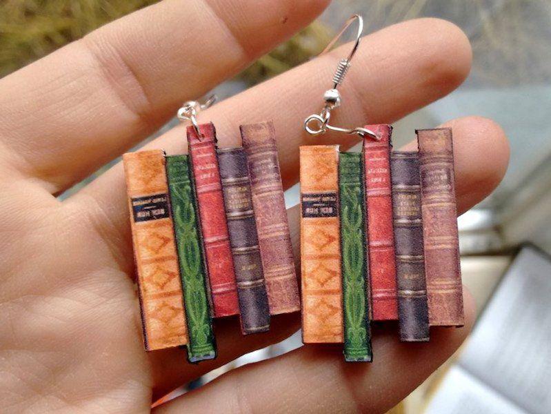 Colorful Bookshelf Earrings