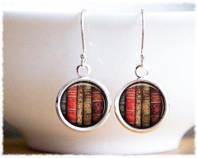 Round Bookshelf Dangly Earrings