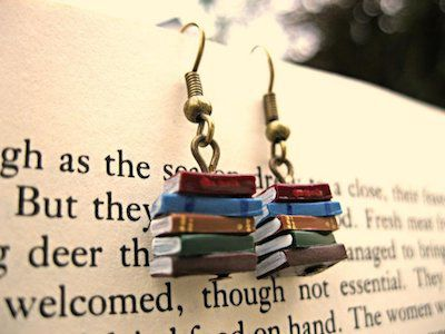 Stack of Books Dangly Earrings