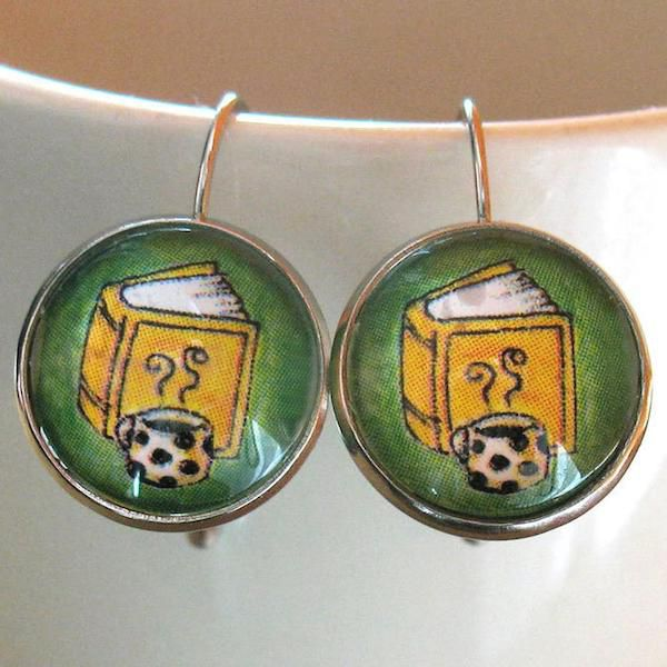 Book and Hot Drink Earrings