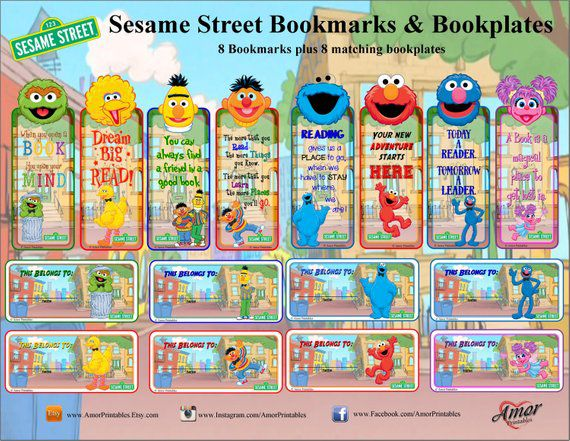 Bookish Sesame Street: Printable Bookmarks and Bookplates