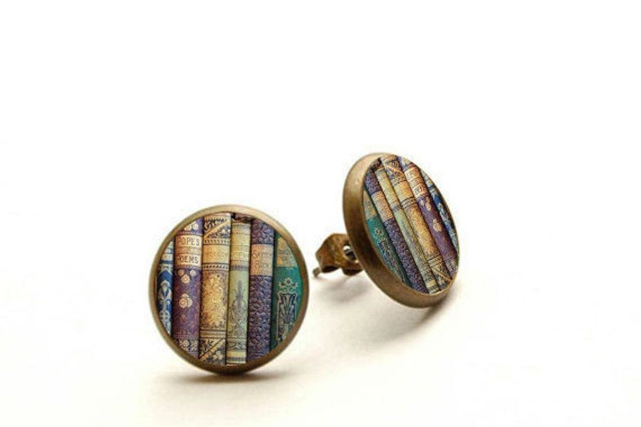 Round Pin Bookshelf Earrings