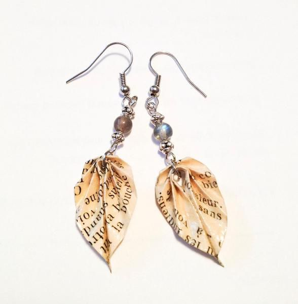 Upcycled Origami Leaf Earrings